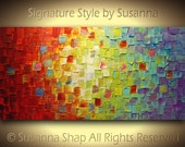 Original Large Abstract Art on Canvas Textured Multicolored Painting Ready to Hang 48x24 by Susanna