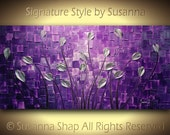 ORIGINAL Large Abstract Purple Silver Tulips Landscape Modern Thick Impasto Texture Palette Knife Painting by Susanna 48x24