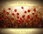 ORIGINAL Large Impasto Landscape Abstract Red Tulips Oil Painting Modern Palette Knife Art by Susanna 48x24