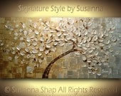 ORIGINAL painting white silver gold tree abstract large contemporary texture modern impasto palette knife fine art by modern house art 48x24