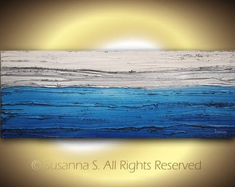 ORIGINAL Abstract Art Large Ocean Landscape Blue Silver Modern Painting Contemporary Palette Knife Mixed Media by Susanna 18x48 Made2Order