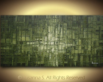 ORIGINAL Large Abstract Contemporary Fine Art Modern Palette Knife Oil Abstract Painting - Earthy Olive Green 48x24 Made2Order