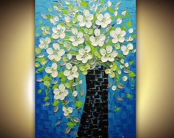 ORIGINAL OIL PAINTING Contemporary Modern Fine Art Bouquet Vase Blue Green Palette Knife Impasto Textured by Susanna 36x24