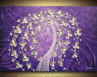 ORIGINAL Modern Abstract Contemporary Fine Art Palette Knife Purple Silver Tree Painting by Susanna 36x24 Made2Order