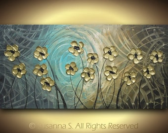 ORIGINAL Abstract Large Contemporary Fine Art Modern Gold Flowers Floral Palette Knife Impasto Painting by Susanna 48x24 Made to Order