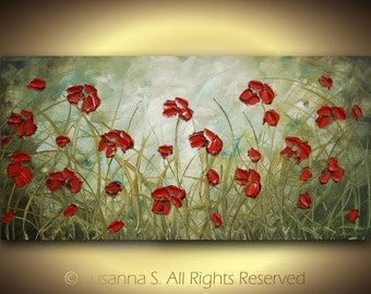 Abstract Flowers Impasto LANDSCAPE painting palette knife oil ORIGINAL modern red poppies contemporary fine art by Susanna 48x24 Made2Order