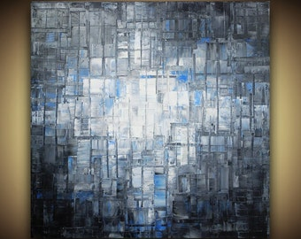 ORIGINAL Large Grey Blue Black Abstract Painting Tonal Organic Geometric Squares Modern Palette Knife Painting by Susanna 36x36 Made2Order