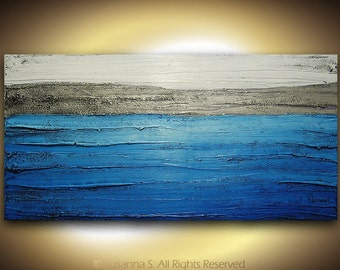 blue abstract ORIGINAL painting- textured blue silver white modern palette knife contemporary fine art by susanna large 48x24 made2order