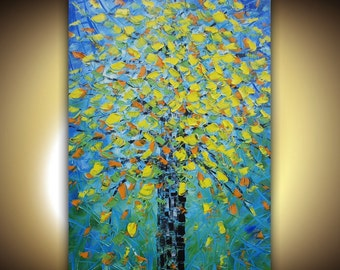 Original Abstract Painting landscape tree impasto yellow blue palette knife oil by Susanna