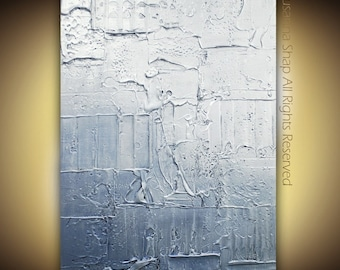 Original Large Abstract Contemporary Fine Art- silver blue modern metallic textured painting by Susanna 36x24