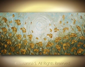 ORIGINAL Abstract Contemporary Fine Art Impasto Landscape Modern Palette Knife Oil Painting 48x24 by Susanna