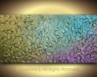 ORIGINAL jewel tones bright abstract art Large Sculpture on Canvas Textured Modern Colorful Metallic Palette Painting by Susanna Shap