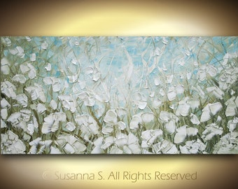 ORIGINAL Large Abstract Contemporary Fine Art IMPASTO LANDSCAPE White Flowers Poppies Textured Modern Palette Knife Oil Painting by Susanna