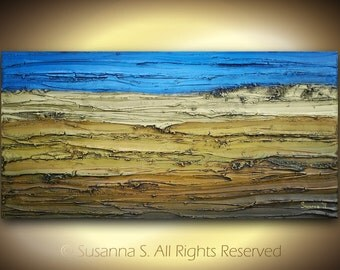 "ORIGINAL blue brown rust large abstract contemporary fine art textured modern palette knife painting - sculpture on deep canvas - 48""x24"""
