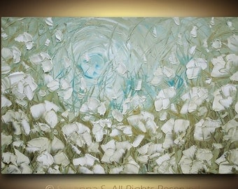ORIGINAL Large Abstract Contemporary Fine Art IMPASTO LANDSCAPE White Flowers Poppies Textured Palette Knife Oil Painting by Susanna 36x24