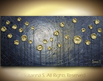 Original Large Textured Abstract Contemporary Blue-Grey Gold Impasto Landscape Modern Palette Knife Metallic Dark Painting by Susanna 48x24