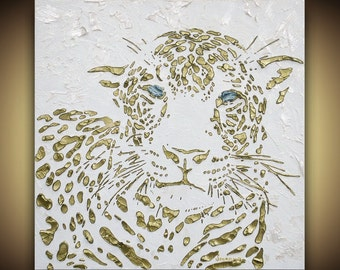 Original abstract leopard painting white and gold animal art large home decor wall art modern palette knife texture -MADE TO ORDER ~Susanna