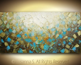 ORIGINAL Large abstract textured impasto contemporary fine art modern palette knife painting - brown blue green white squares 48x24