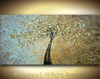 ORIGINAL Large Abstract Floral Tree Contemporary Painting Textured Modern Palette Knife Impasto Cherry Blossom - Fine Art by Susanna 48x24