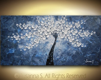 ORIGINAL Large Abstract Tree Painting Textured Modern Palette Knife Impasto Landscape Cherry Blossom Neutral Navy blue- Art by Susanna 48x24