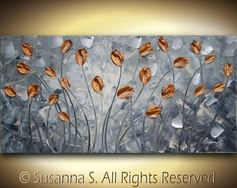 ORIGINAL Large Abstract Contemporary Fine Art Orange/Copper Tulips Flowers Palette Knife Impasto Landscape Painting by Susanna 48x24