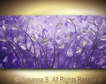 ORIGINAL Large Abstract Impasto Landscape Silver Tulips Modern Palette Knife Painting - Purple Contemporary Fine Art by Susanna 48x24