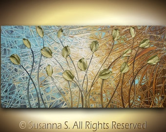 ORIGINAL Large Abstract Contemporary Fine Art Brown Gray Gold Tulips Flowers Palette Knife Impasto Landscape Painting by Susanna 48x24