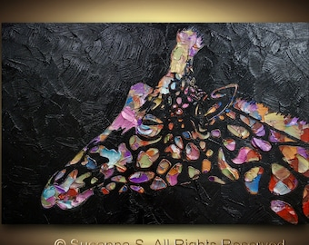 Original Pop Art Large abstract contemporary giraffe metallic multicolor impasto palette knife painting by Susanna Shap 36x24 Made2Order