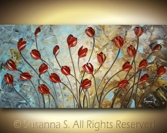 ORIGINAL Large Abstract Contemporary Fine Art- Impasto Red Tulips Landscape Modern Palette Knife Painting by Susanna 48x24