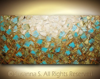 ORIGINAL Large textured abstract painting impasto contemporary modern palette knife fine art-  brown blue green white squares 48x24