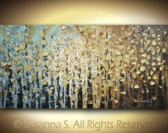 ORIGINAL Large Abstract Trees Impasto Landscape Contemporary Fine Art Textured Modern Palette Knife Painting by Susanna 48x24