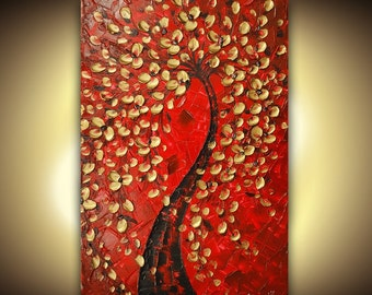 ORIGINAL Abstract Contemporary Red Gold Tree Painting Palette Knife Thick Texture Deep Gallery Canvas Ready to Hang 36x24 by Susanna