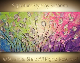 ORIGINAL Large Impasto Landscape Texured Modern Silver Tulips on Pink Green Blue Purple Abstract Painting by Susanna 48x24