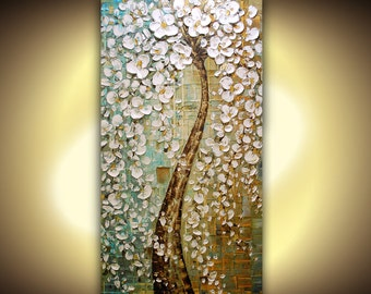 ORIGINAL Painting Huge White Cherry Blossom Tree Landscape Oil Palette Knife Gallery Fine Art Ready to Hang 48x24 by Susanna