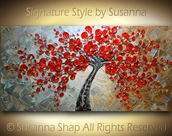 ORIGINAL Large Abstract Contemporary Red Tree Oil Painting Textured Modern Palette Knife Impasto Landscape Cherry Blossom by Susanna 48x24