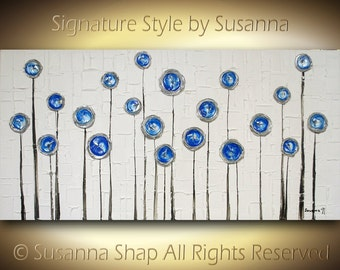 Original Large ABSTRACT LANDSCAPE Contemporary Fine Art Blue Silver Textured Modern Palette Knife Painting by Susanna Ready to Hang 48x24