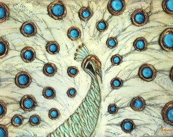 Abstract White Peacock Art, Fine Art Giclee PRINT on Canvas, Home Decor Wall Art Large Blue Gold Cream Contemporary Art by Susanna