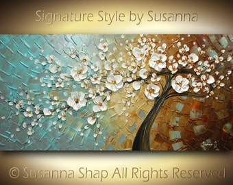 ORIGINAL White Cherry Blossom Tree Thick Texture Abstract Impasto Landscape Modern Palette Knife Oil Painting by Susanna 48x24