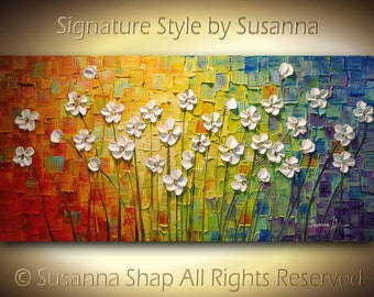original large abstract contemporary white flowers landscape heavy textured modern multicolored painting by susanna ready to hang 48x24