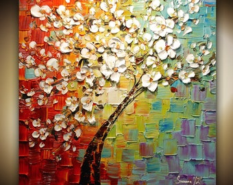 ORIGINAL Large Contemporary White Cherry Blossom Tree Painting Modern Multicolored, Fine Art by Susanna 30x30 Ready to Hang Made2Order