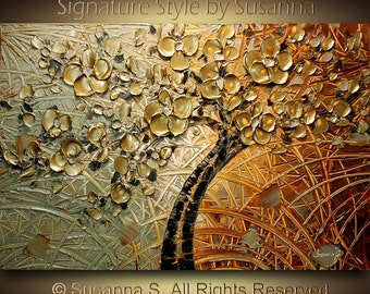 ORIGINAL Large Abstract  Copper Tree Painting Impasto Landscape Thick Textured Modern Palette Knife fine art by Susanna Ready to Hang 36x24