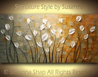ORIGINAL Large Impasto Landscape Abstract Grey Tan White Tulips Oil Painting Modern Palette Knife Art by Susanna 48x24 Made2Order