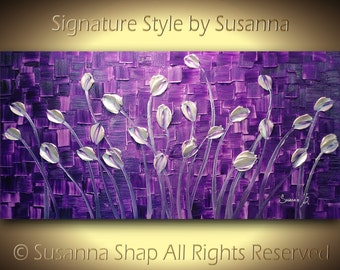 ORIGINAL Large Abstract Purple Pearl White Tulips Landscape Modern Thick Impasto Texture Palette Knife Painting by Susanna 48x24 Made2Order