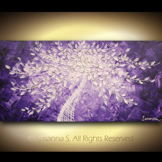 original large contemporary abstract purple art by