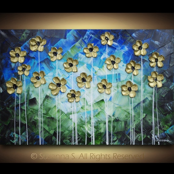 on sale - ORIGINAL Abstract Contemporary Fine Art- Blue Green Gold Impasto Flowers Textured Modern Palette Knife Painting by Susanna 36 x 24