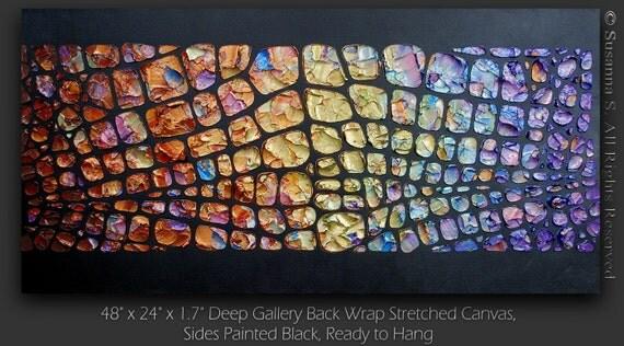 CUSTOM - Original Large Abstract Contemporary Fine Art- Impasto Textured Metallic Modern Palette Knife Painting by Susanna 48x24