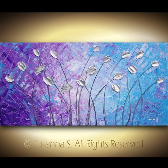 ORIGINAL Large Abstract Impasto Landscape Silver Tulips Modern Palette Knife Painting - Purple Blue Contemporary Fine Art by Susanna 48x24