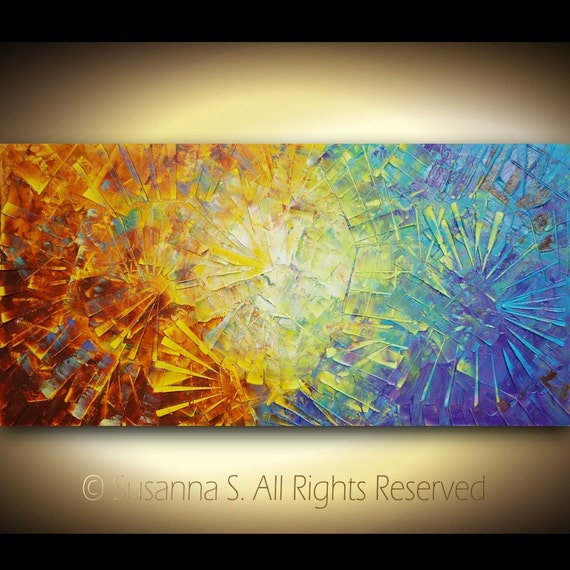 Original Large Abstract Contemporary Fine Art- Impasto Textured Modern Palette Knife Painting by Susanna 48x24