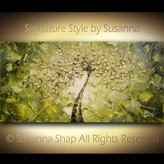 ORIGINAL Large Abstract Contemporary Flowers Tree Painting Textured Modern Palette Knife Impasto Landscape Cherry Blossom by Susanna 48x24