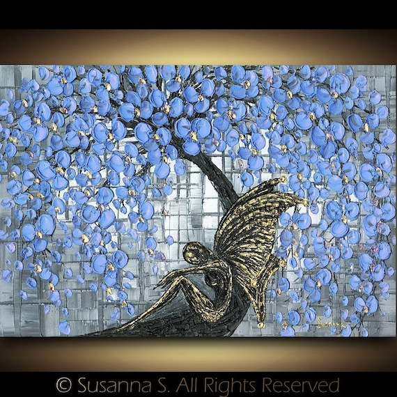 Fantasy Black Fairy under Blue Cherry Blossoms Tree Fine Art PRINT